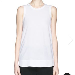 HELMUT LANG SIDE ZIP HIGH-LOW CREPE TANK